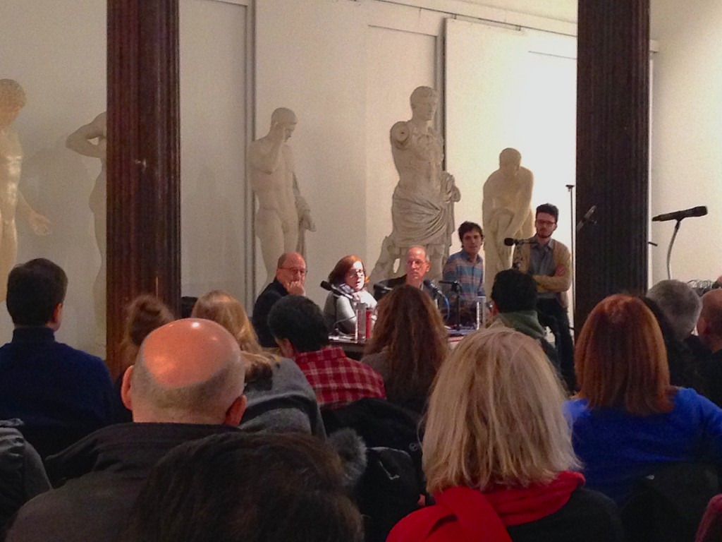 Jerry Saltz, Roberta Smith and host Randy Cohen for the taping of Person, Place, or Thing Podcast at NYAA, NY, 2014