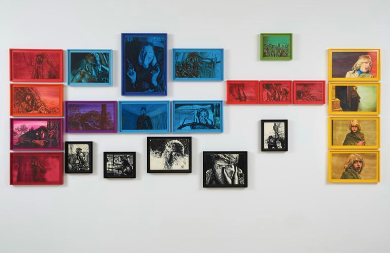 Adam Helms, Untitled (Dante and Beatrice in Technicolor), 2014, Gouache and aniline dye on paper, 23 panels: dimensions variable, Boesky East, Marianne Boesky Gallery, NY, 2014