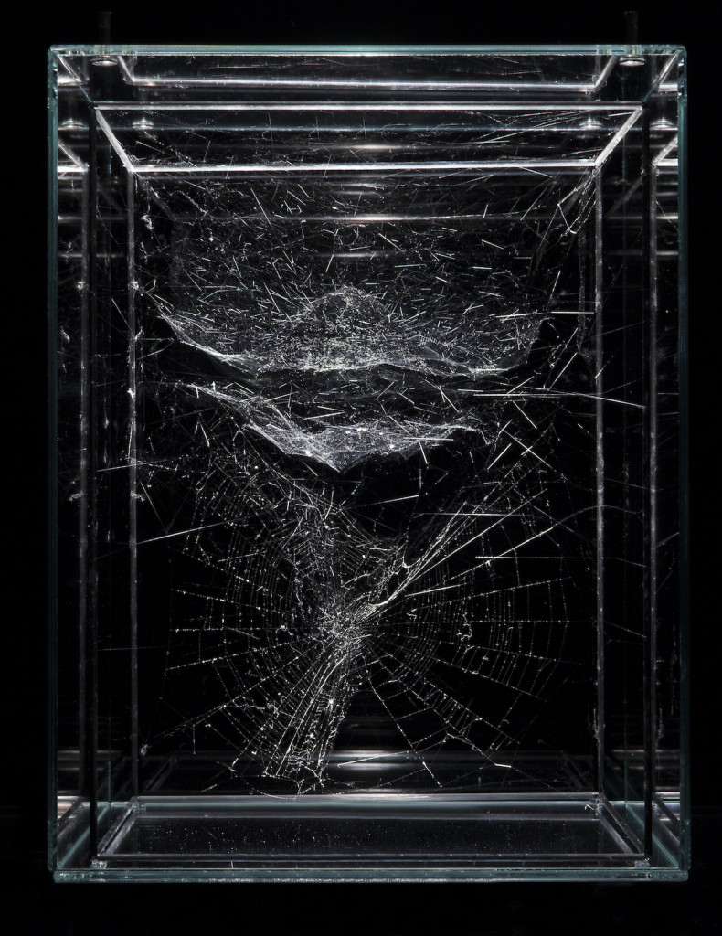 Tomas SARACENO Hybrid solitary semi-social musical instrument Sagitta: built by one Angiope anasuja and a Cyrtophora moluccensis 2015 spidersilk, carbon fibre sticks, glass 12 x 8 7/8 x 8 7/8 inches; 30.5 x 22.5 x 22.5 cm, Photography by Studio Tomás Saraceno, © 2015, Courtesy of Tanya Bonakdar Gallery