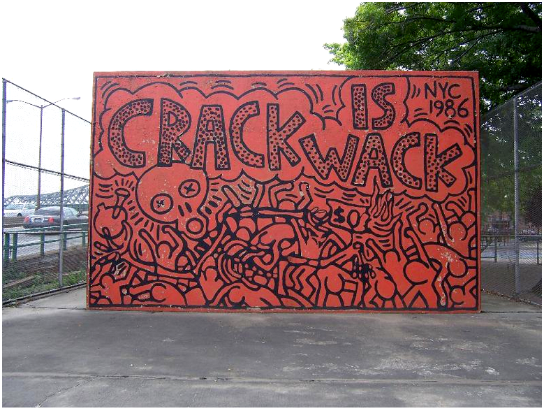 Keith Haring, Crack is Wack, Mural from 1986, E 128 ST, 2 AVE & HARLEM RIVER DRIVE, Image courtesy of NYC Parks.