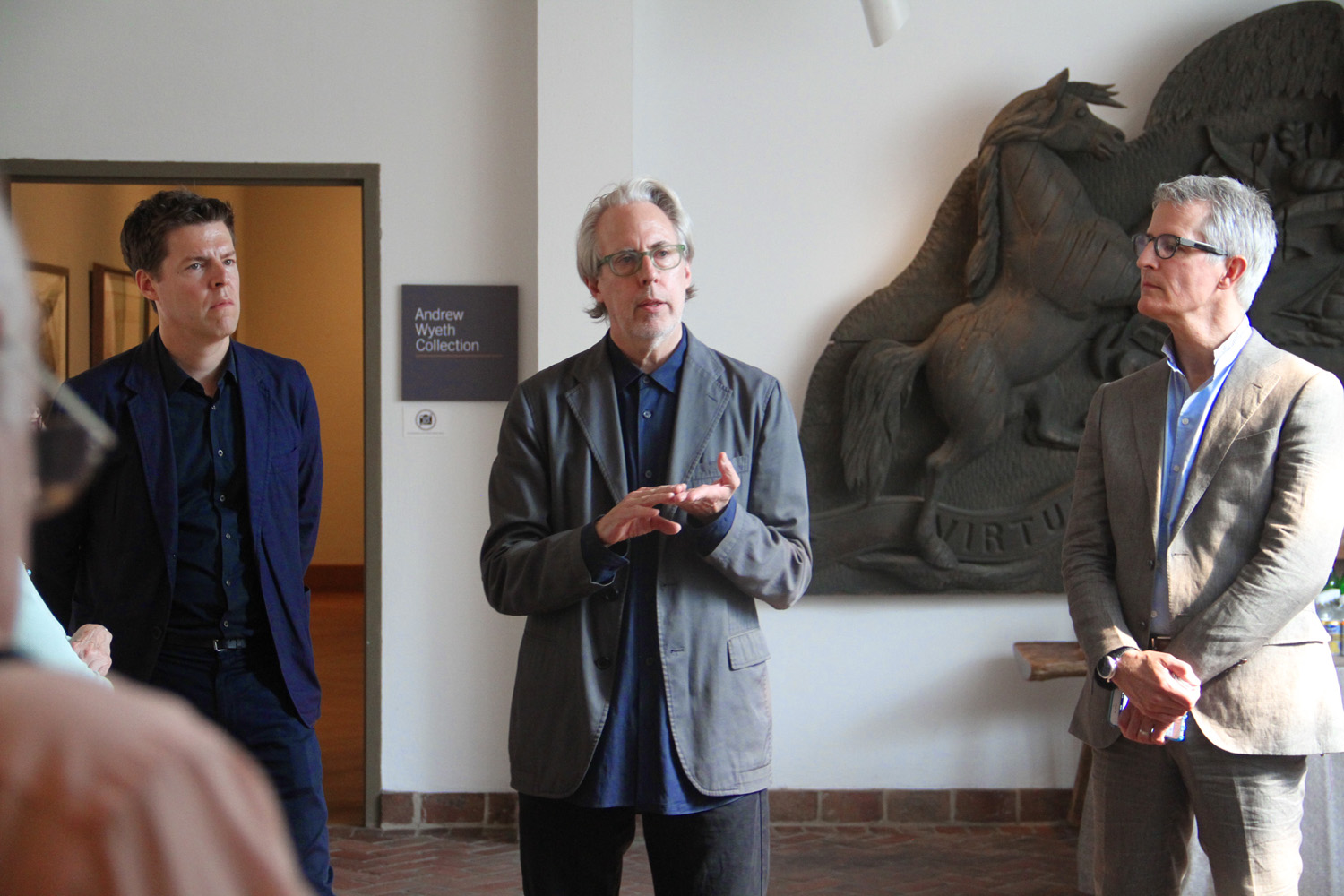 James Welling, center, flanked by Curator Philipp Kaiser (left) and Brandywine River Museum Director Thomas Padan (right), Photograph Job Piston, 2015