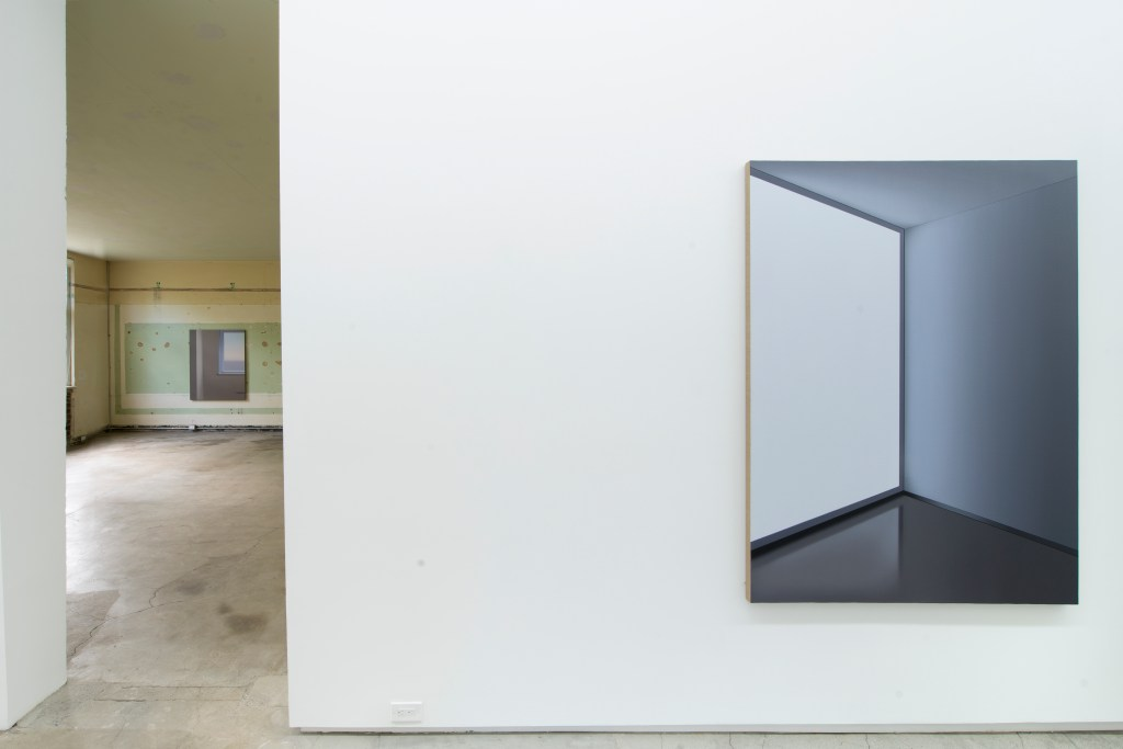 "Pierre Dorion, Installation view, left (back room): ""The School (Window)"" (2016), right: ""Screen II"" (2016) Image courtesy of Jack Shainman Gallery, 2016"