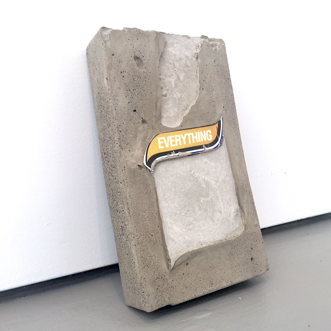 "Nickolaus Typaldos, ""Everything"" Concrete with collage element, David Zwirner Gallery, NY, 2016"