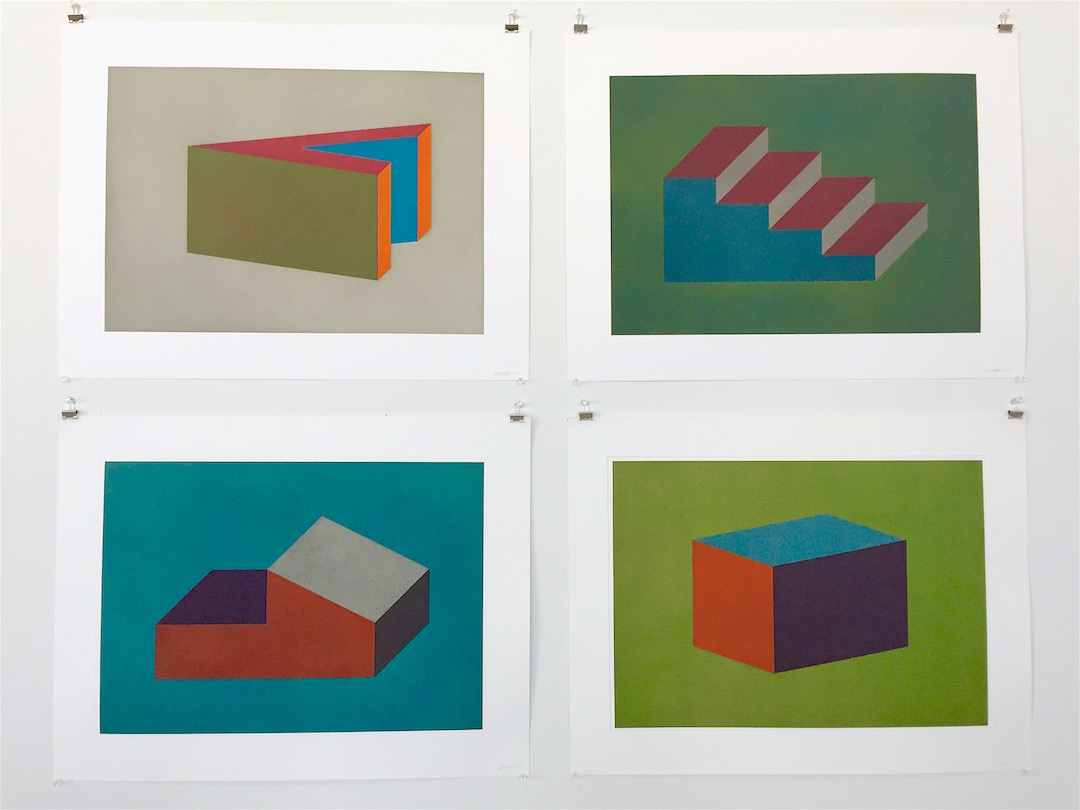 "Sol LeWitt, ""Forms Derived From a Cubic Rectangle"" (1999) Etching aquatint, ""The Art of the Chop,"" Hudson, NY, Photograph Katy Hamer"