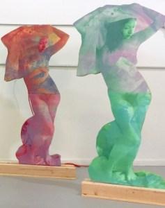Lisa Mackie, Exhibition detail, free-standing sculptures, printed paper on Styrofoam, Hudson, New York