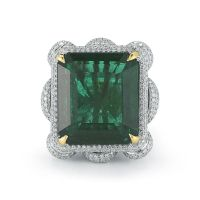 An Exquisite 24.54 Cts Natural Zambian Emerald-Cut Emerald and Diamond Ring