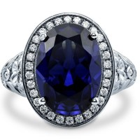A Beautiful Sterling Silver Oval Simulated Blue Sapphire Cubic Zirconia CZ Halo Art Deco Ring