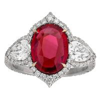 A Gorgeous Untreated Ruby and Diamond Ring 3.02 Carats