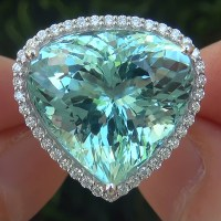 A Exquisite GIA 20.26 Ct Flawless Natural Aquamarine Diamond 14k White Gold Ring