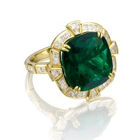 A Magnificent 11.49 Carat Untreated Colombian Emerald D'Oyly Carte Ring.