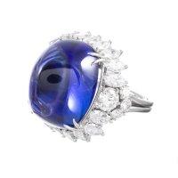 A Beautiful 32.18 Carat Sugarloaf Tanzanite Diamond Dress Ring