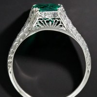 A Stunning Art Deco 1.22 Carat Emerald and Diamond Ring