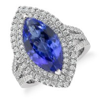 A Gorgeous Tanzanite and Diamond Marquise Halo Ring in 18k White Gold