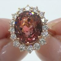 A Gorgeous GIA 11.03 ct Natural VS Pink Tourmaline and Diamond 18k Rose Gold Estate Ring
