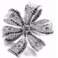 A Gorgeous Chanel 18k White Gold White & Black Diamond Ring circa 1932