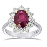 An Exquisite 2.90 Cts Ruby Gemstone Engagement Ring Set in Platinum White Gold