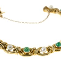 A Gorgeous Vintage 1910 Victorian 14k Gold 9 Natural Pearl 8 Genuine Dome Emerald Bracelet