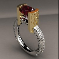 Infinity Red Zircon And Diamond Ring