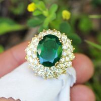 A Gorgeous Vintage Certified Oval Emerald Waterfall Ring with Diamonds 18K Gold 14.70ctw