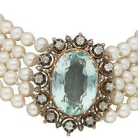A Gorgeous Victorian 1860s Aquamarine, Diamond and Pearl Necklace