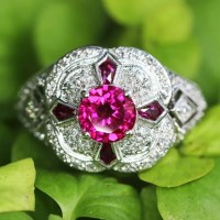 An Exquisite Ruby Filigree Ring with Pentagonal Rubies & Diamonds 18K White Gold 1.94ctw