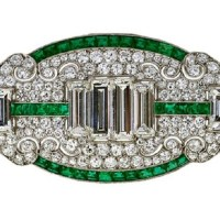 Spectacular Art Deco Diamond Emerald Brooch