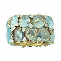 New Pomellato Lulu Topaz Diamond 18K Gold Ring