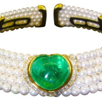 Heart Shaped Emerald, Diamond and Pearl Choker Necklace