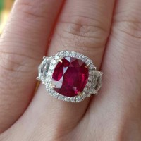 5 Carat Unheated Ruby and Diamond Ring