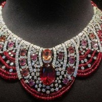 Gorgeous Ruby, Rubellite, Red and Pink Diamond Necklace