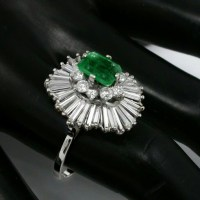 1.50ct Emerald Cut Emerald 2.20ct Diamond Gold Ballerina Ring