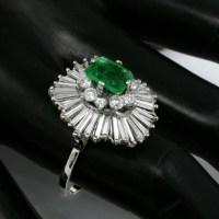 1.50ct Emerald Cut Emerald 2.20ct Diamond Gold Ballerina Ring