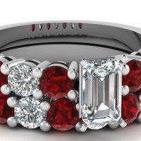 Spectacular 1.50 Carat Round Ruby Gold Wedding Ring Sets With Emerald Cut Diamond GIA