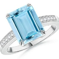 Emerald Cut Aquamarine Ring with Diamond Accent