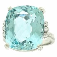 1960s H.Stern 12.5 Carat Aquamarine Diamond Gold Ring
