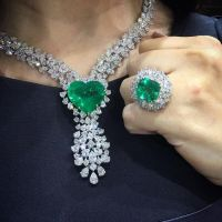 Emerald Diamond Necklace and Ring