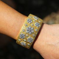 Diamond Cuff Bracelet 18K White & Yellow Gold Textured 3.00ctw H.Gold