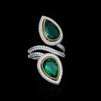 A Gorgeous Pear Cut Emerald and Diamond Ring