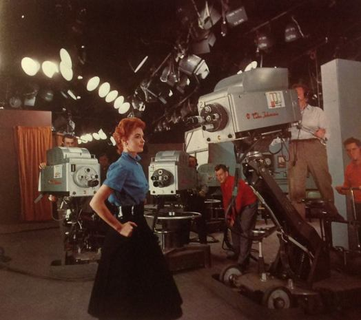 FIANLLY THE PROOF...4 TK40s at Colonial Theater! Pristine photo! PROTOTYPE HF HEAD! probably 1954 3 cam have vents Marie McNamara NBC color girl