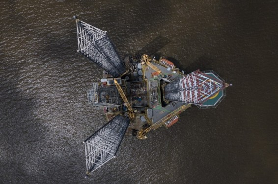 Above the off shore drilling platform at the Lagos harbour