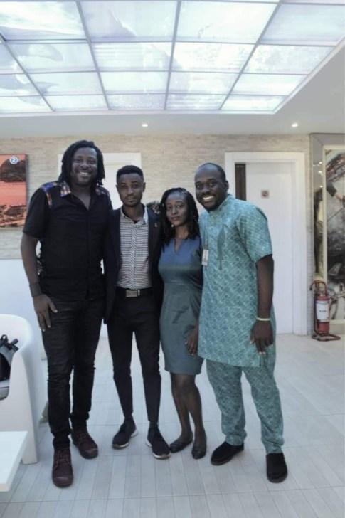 Bolaji Alonge with Mazino Dixon (R) and the VON team of Journalists