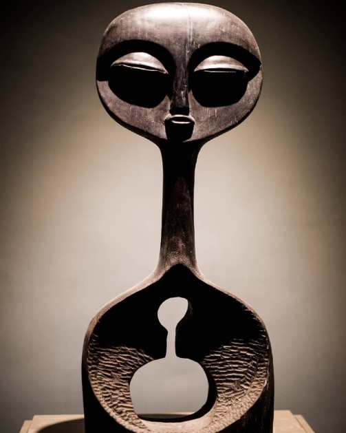Iconic piece on display at the museum at Yemisi Shyllon Museum of Art Erahbor Emokpae, Iya Abikun (FESTAC 77), 1977, Wood, 95 x 39 x 39cm.