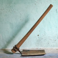 India, Tamil Nadu, May 2018. The shovel used by Selvarasy to work on fields.
