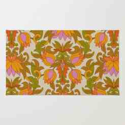 Orange, Pink Flowers and Green Leaves 1960s Retro Vintage Pattern Rug by Eyestigmatic Design Society6