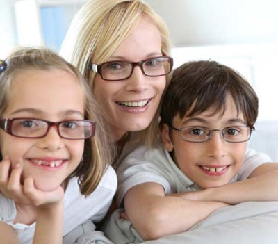 family with glasses