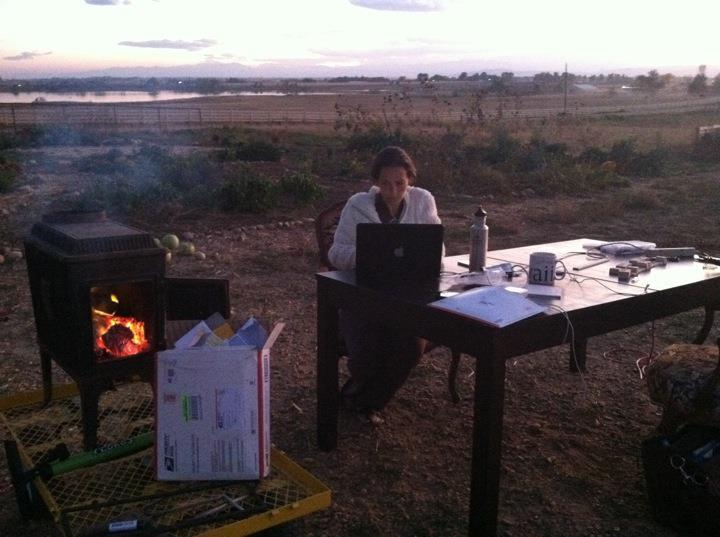 Evening at the farm after a long day's work – thank god for creditors, or we would have been freezing!