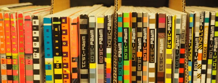 old wired magazine spines