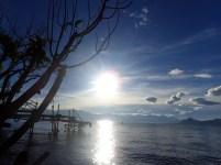 Sun rising over the lake