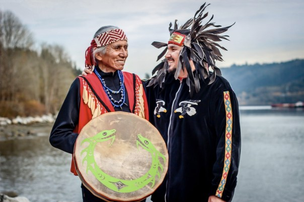 Chief Leonard George and son Gabriel George photographed by Eyoalha Baker