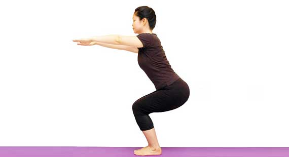 yoga chair pose folding padded seat utkatasana steps benefits precautions eyogaguru
